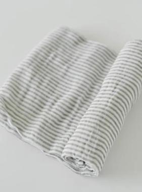 Little Unicorn Cotton Muslin Swaddle Single - Grey Stripe UB0108