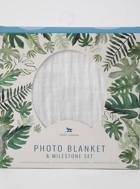 Little Unicorn Photo Blanket - Tropical Leaf