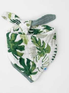 Little Unicorn Cotton Muslin Reversible Bandana Bib - Tropical Leaf