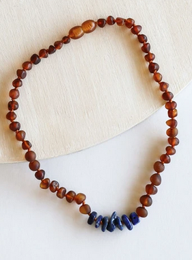 Canyon Leaf Baltic Amber Necklace Lapis Stones 12""