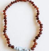 "Canyon Leaf Raw Cognac Amber Amazonite Necklace 11"""