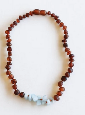 Canyon Leaf Raw Cognac Amber Amazonite Necklace 11""
