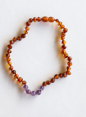 Canyon Leaf Raw Cognac Amber Amethyst Necklace 12""