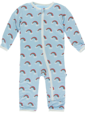 Kickee Pants Print Coverall ZIPPER Pond Rainbow