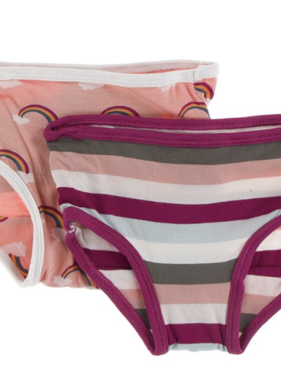 Kickee Pants Training Pants Set Blush Rainbow/Geology Stripe