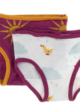 Kickee Pants Girls Underwear Set Berry Sun/Nat Duck