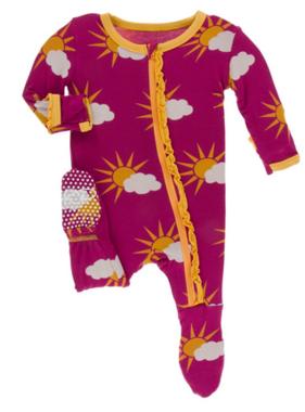 Kickee Pants Print Muffin Ruffle Footie ZIPPER Berry Partial Sun