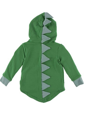Kickee Pants Solid Fleece Zip Front Dino Hoodie Fern