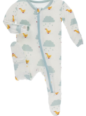 Kickee Pants Print Footie  ZIPPER Natural Puddle Duck