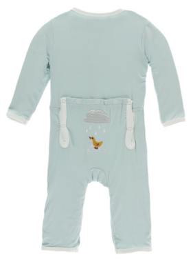 Kickee Pants Applique Coverall ZIPPER Spring Sky Puddle Duck