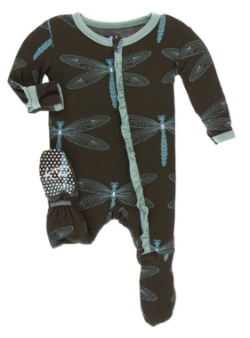 Kickee Pants Print Muffin Ruffle Footie Giant Dragonfly