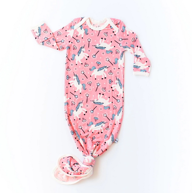 Little Sleepies Unicorn Knotted Gown Newborn - 3 Months