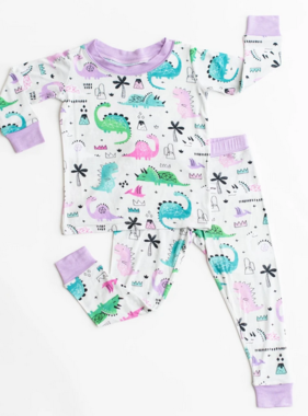 Little Sleepies Pink/Purple Dinosaurs PJ Set