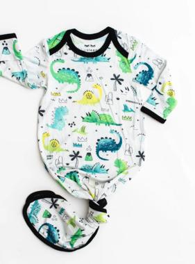 Little Sleepies Blue/Green Dinosaurs Knotted Gown Newborn - 3months