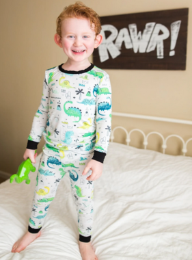Little Sleepies Blue/Green Dinosaurs PJ Set