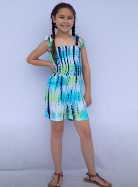 Joyous And Free Pixie Romper, Tie Dye Blue