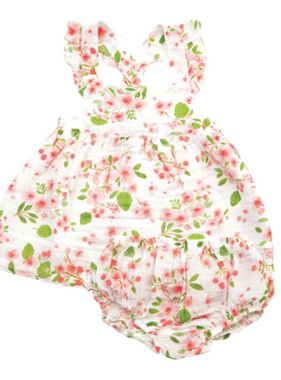 Angel Dear Cherry Blossom Pinafore Top/Bloomer