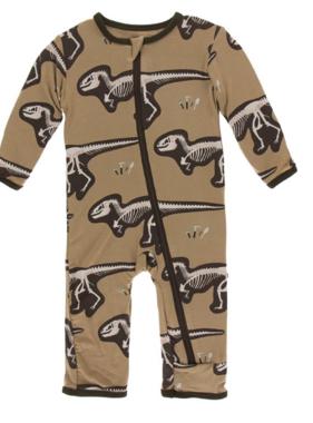Kickee Pants Print Coverall ZIPPER Tannin T-Rex Dig
