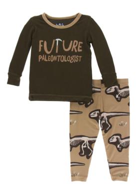 Kickee Pants Print LS PJ Set Tannin Future Paleontologist