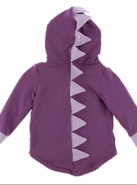 Kickee Pants Solid Fleece Zip Front Dino Hoodie Amethyst
