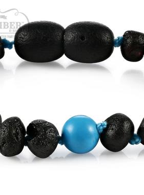 R.B. Amber Baltic Amber/Gemstone Bracelets/Anklet: Raw Cherry Turquoise
