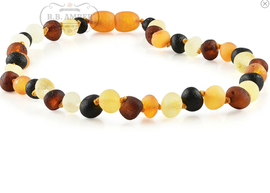 R.B. Amber Baltic Amber Necklace Raw Multi / 10-11""