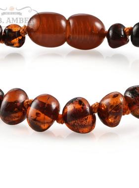 R.B. Amber Baltic Amber Bracelet/Anklet: Dark Cognac