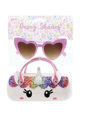 Purple Heart Sunglasses/White Unicorn Case DST10B