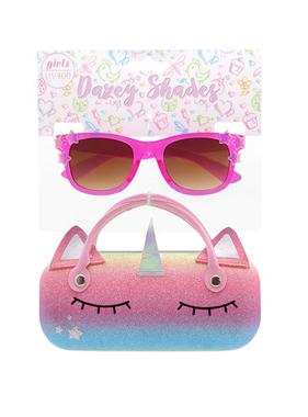 Hang Ten Dark Pink Sunglasses/Unicorn Horn Case DST11C
