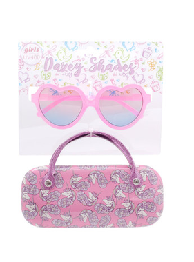 Hang Ten Pink Heart Sunglasses/Mini Unicorns Case DST01A
