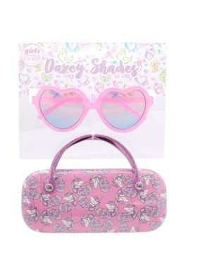 Hang Ten Pink Heart Sunglasses/Mini Unicorns Case DST01A