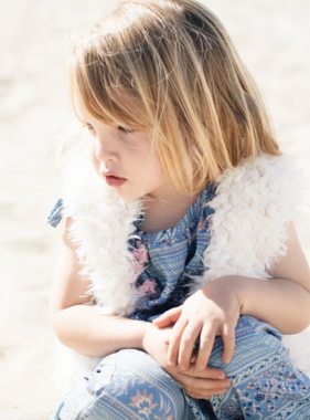 Born By The Shore Faux Fur Vest, Flower Stripes Roset