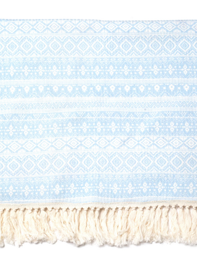 Born By The Shore Cozy Fringe Blanket, Blue