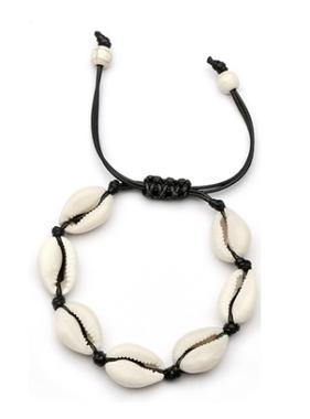 Top Trenz Puka Shell Bracelet - Black