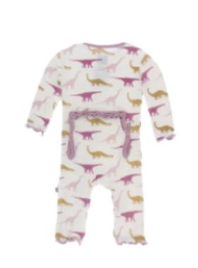 Kickee Pants Print Coverall Natural Sauropods SNAPS
