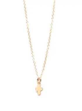 Emma Jane Micro Cross Necklace: 16-in