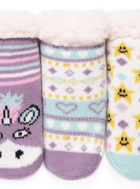 Muk Luk 3PK Baby Cabin Socks Winter Violet 0-12 month