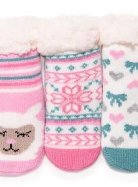 Muk Luk 3PK Baby Cabin Socks Rose Quartz