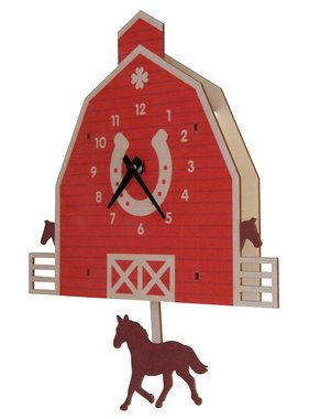 Modern Moose Horse Barn Pendulum Clock 1575 **PREORDER