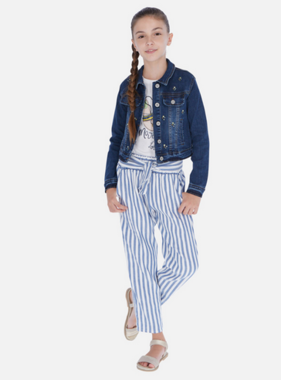 Mayoral 6534 19 blue Linen striped pants