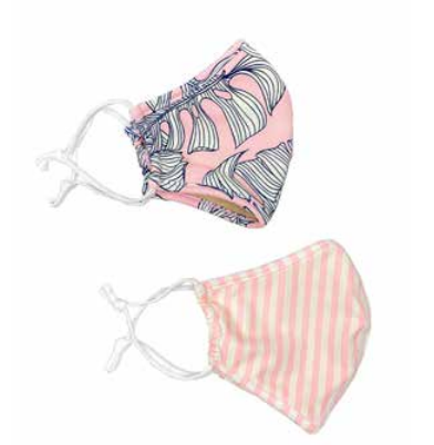 Face Mask SHCR 101 PINK MONSTERA / PINK STRIPE 2PK KIDS FACE MASK SET