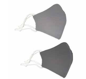Face Mask SHCRA 211 ADULT SOLID GRAY 2PK MASK SET