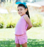 Bella Beach Kids 4007 Track Shorts-Pinwheels Hot Pink