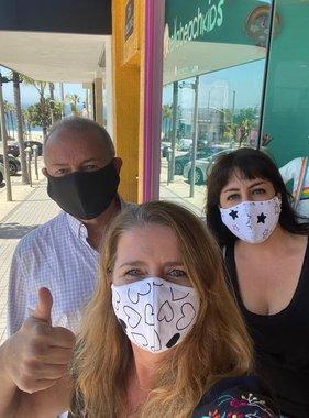 Face Mask Face Mask Adult -  Denim Hearts