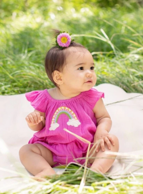 Mimi & Maggie 2589B Rainbow Wishes Romper Fuschia