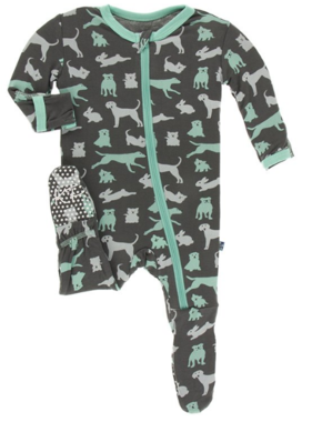 Kickee Pants Print Footie Zipper, Stone Domestic Animals