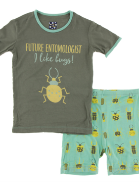 Kickee Pants Short Sleeve Pajama Set Glass Beetles