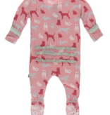 Kickee Pants Print Muffin Ruffle Footie  Zipper Strawberry Domestic Animals