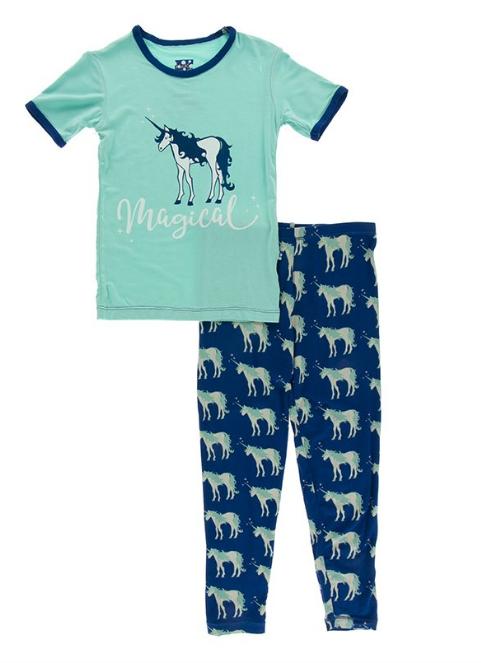 Kickee Pants Short Sleeve Pajama-Blue Unicorns