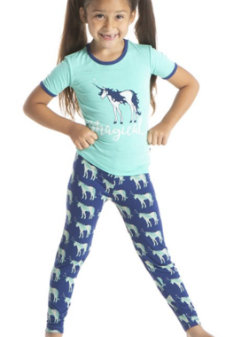 Kickee Pants Short Sleeve Pajama-Blue Unicorns